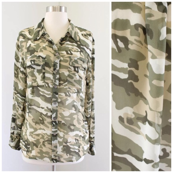869cf26ab15d4 Two by Vince Camuto Tops | Vince Camuto Sheer Camo Button Up | Poshmark